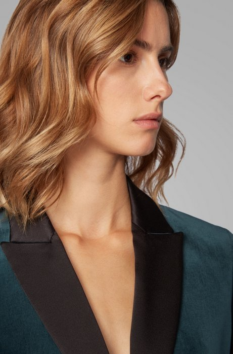 Tuxedo-inspired regular-fit jacket in Italian velvet, Dark Green