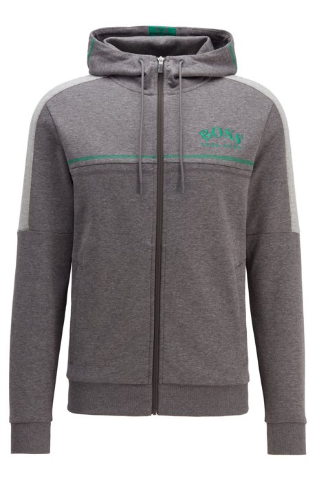 Sweat Regular Fit à logo incurvé et capuche ajustable, Gris