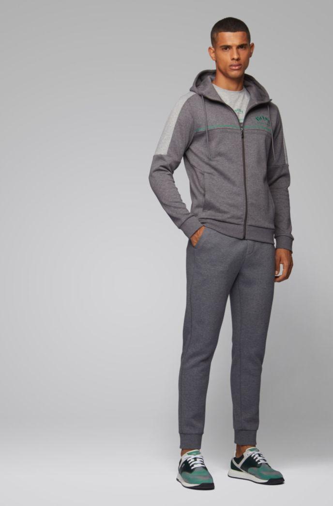 Regular-fit sweatshirt met gebogen logo en verstelbare capuchon