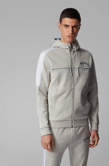 Regular-fit sweatshirt with curved logo and adjustable hood, Light Grey