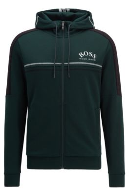 Regular-fit sweatshirt with curved logo and adjustable hood, Green