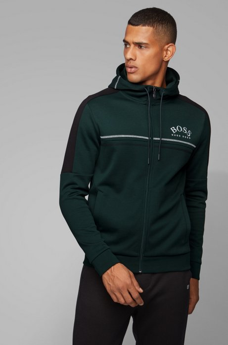Sweat Regular Fit à logo incurvé et capuche ajustable, Vert