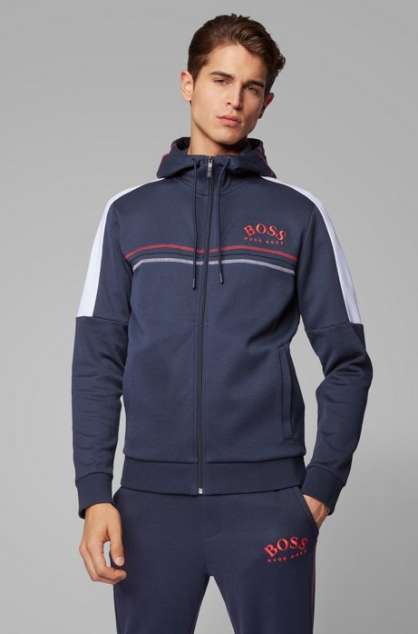 Regular-fit sweatshirt with curved logo and adjustable hood, Dark Blue