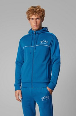 Regular-fit sweatshirt with curved logo and adjustable hood, Blue