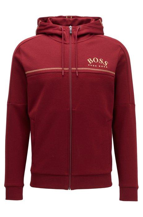 Regular-fit sweatshirt met gebogen logo en verstelbare capuchon, Rood