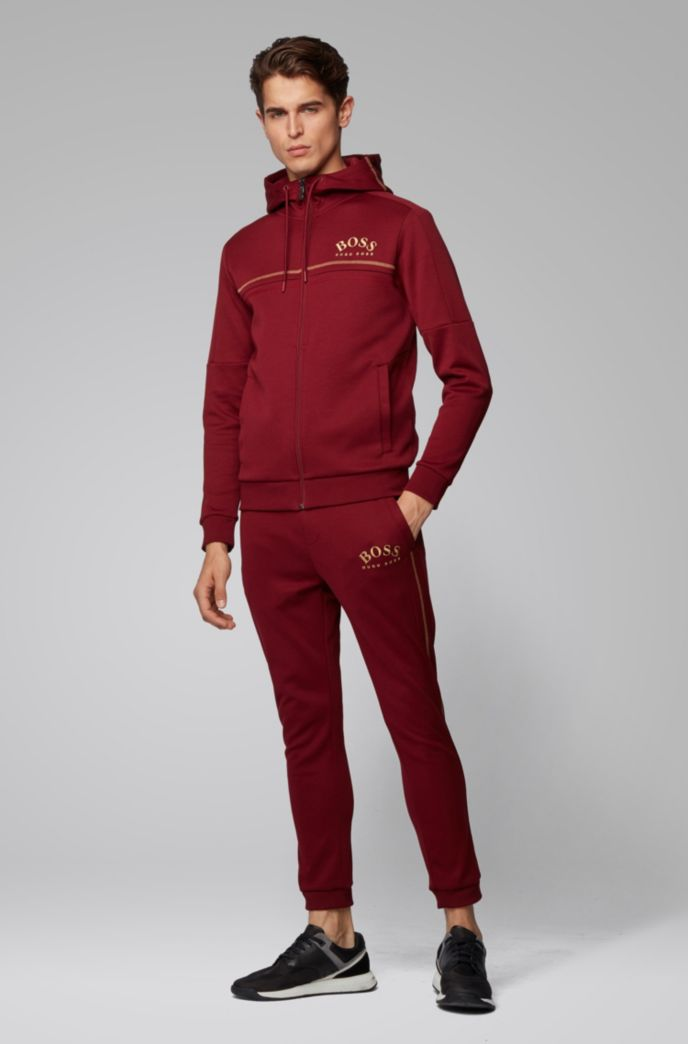 Regular-fit sweatshirt with curved logo and adjustable hood