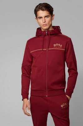 Regular-fit sweatshirt with curved logo and adjustable hood, Red