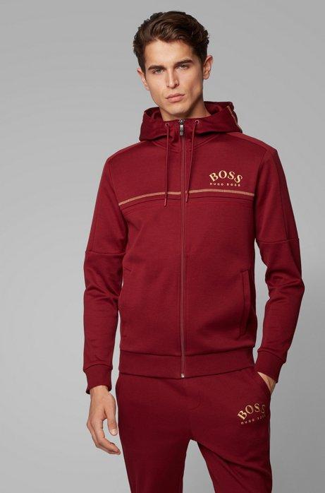 Sweat Regular Fit à logo incurvé et capuche ajustable, Rouge