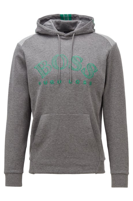 Regular-fit sweatshirt with large curved logo, Grey