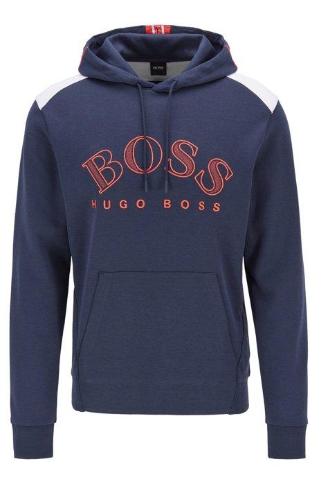 Regular-fit sweatshirt met groot gebogen logo, Donkerblauw