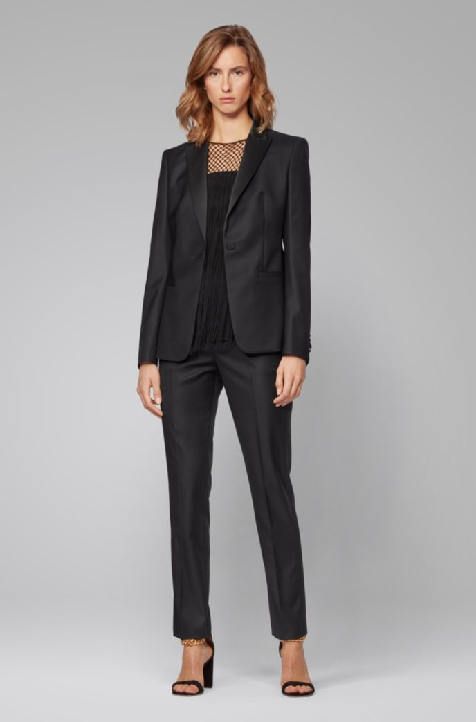 Regular-fit tuxedo-inspired trousers with satin trims