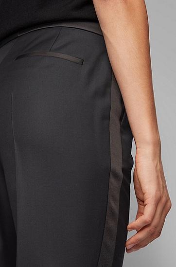 缎面饰边常规版型礼服裤装,  001_黑色