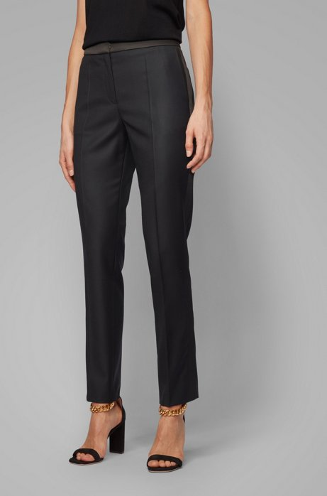 Regular-fit tuxedo-inspired trousers with satin trims, Black