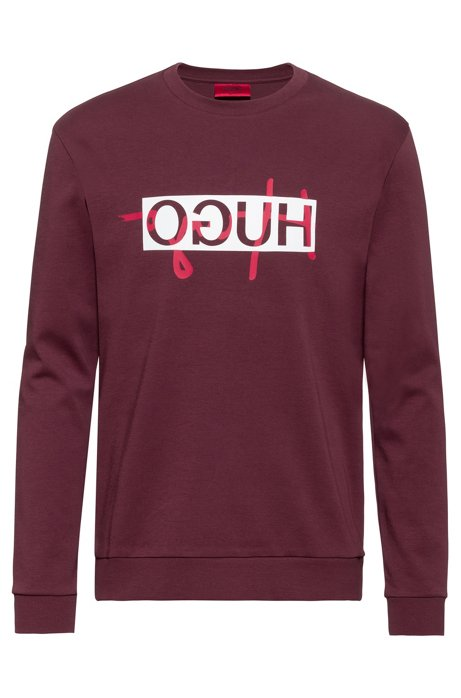 Regular-fit sweatshirt with new-season reversed logo, Dark Red