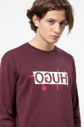 Regular-fit sweatshirt with new-season reversed logo, Dark Red