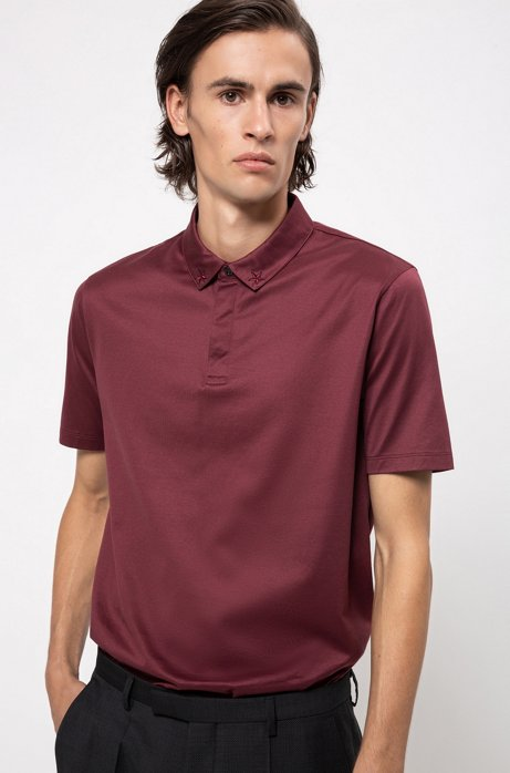 Polo Regular Fit en pur coton , Rouge sombre