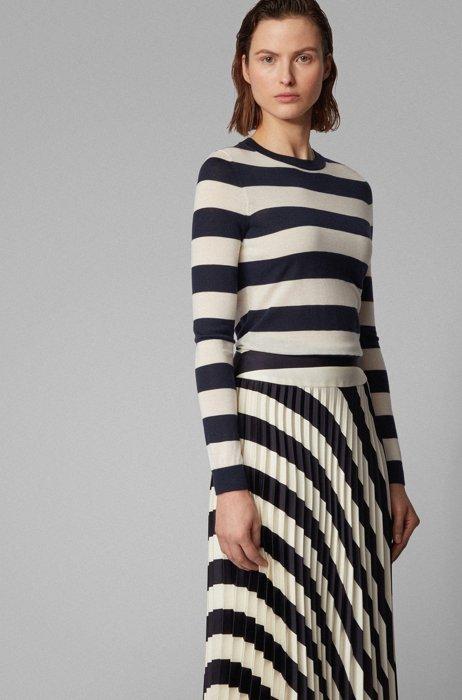 Slim-fit trui van gestreepte scheerwol, Bedrukt