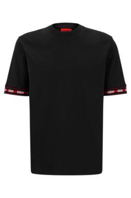T-shirt Relaxed Fit en coton mélangé avec bas des manches à logos, Noir