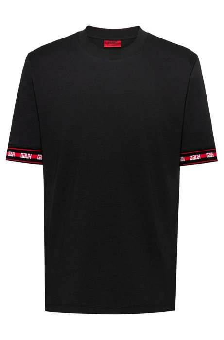 T-shirt relaxed fit in misto cotone con logo sul fondo manica, Nero