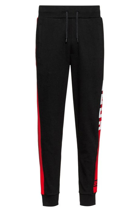 Pantaloni in jersey intrecciato con riga laterale a contrasto, Nero