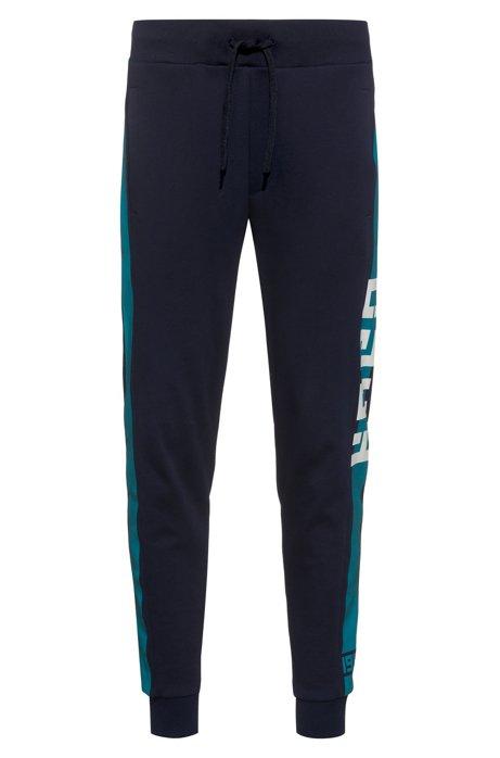 Pantaloni in jersey intrecciato con riga laterale a contrasto, Blu scuro