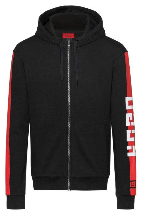 Kapuzen-Sweatjacke aus Interlock-Jersey mit Kontrast-Streifen an der Seite, Schwarz