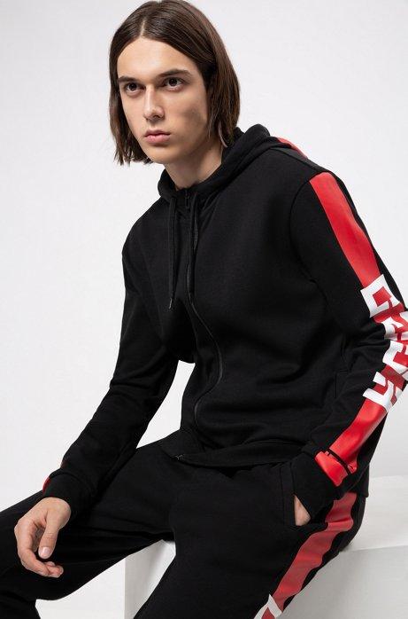 Interlock-jersey hooded sweatshirt with contrast side stripe, Black