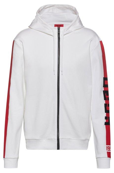 Interlock-jersey hooded sweatshirt with contrast side stripe, White