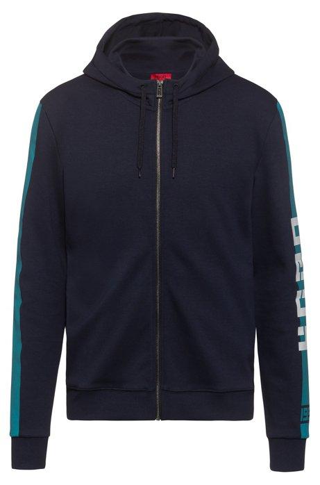 Interlock-jersey hooded sweatshirt with contrast side stripe, Dark Blue