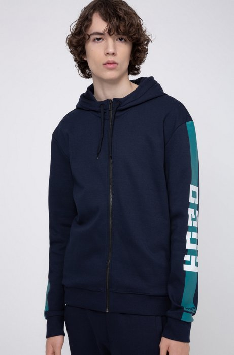 Interlock-jersey hooded sweatshirt with contrast side stripe, Dark Blue