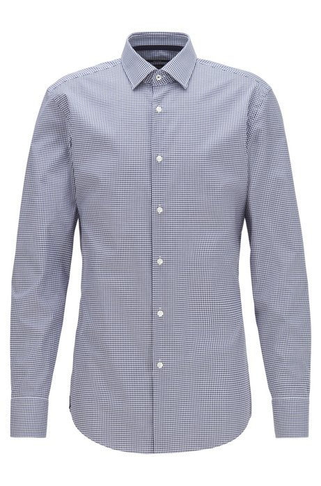 Slim-fit shirt in Vichy-check easy-iron cotton, Dark Blue