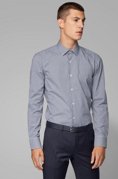 Chemise Slim Fit en coton facile à repasser à carreaux vichy, Bleu foncé