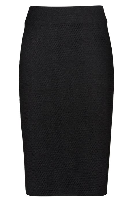 Slim-fit pencil skirt with 3D houndstooth jacquard, Black