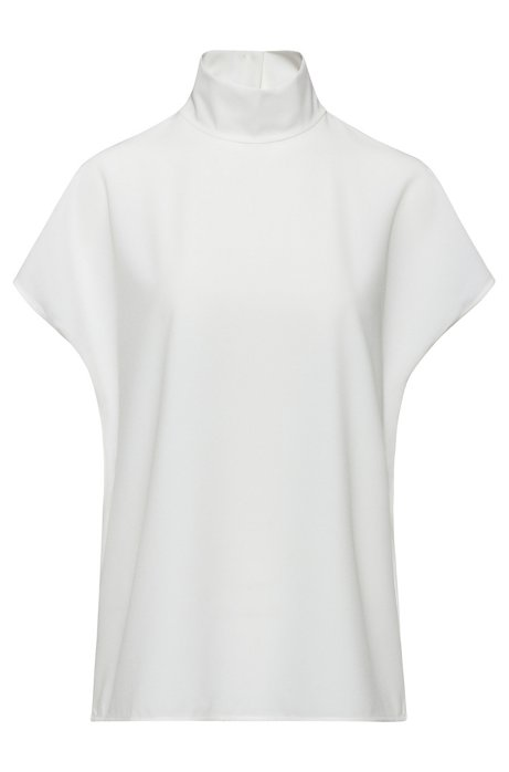 Top regular fit en punto elástico con cuello mao, Blanco