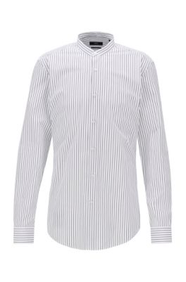 Slim-fit shirt in butcher-stripe cotton, Black