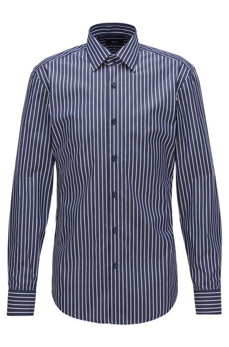 Slim-fit shirt in butcher-stripe cotton, Dark Blue