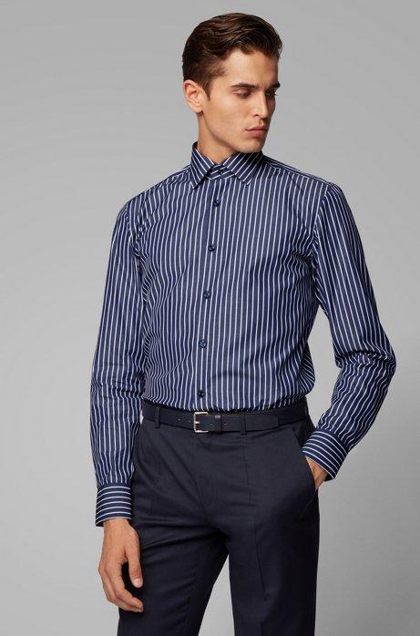 Slim-fit overhemd van katoen met een iets bredere streep, Donkerblauw