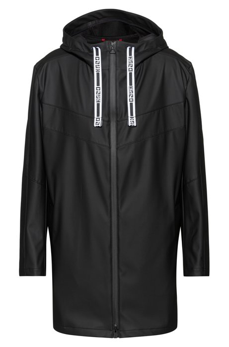 Water-repellent hooded raincoat with logo drawcords, Black