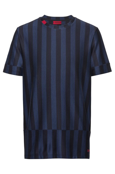 Relaxed-fit cotton T-shirt with mixed stripes, Patterned