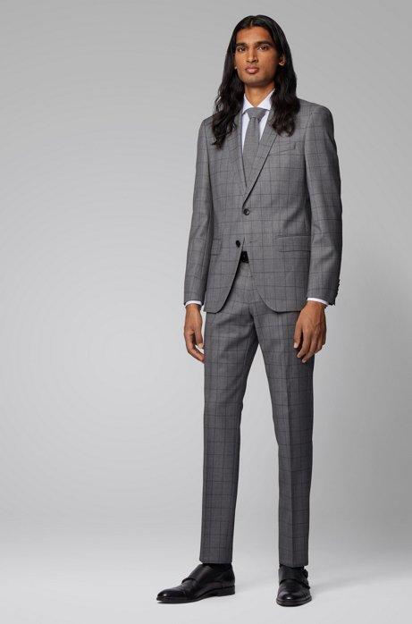Slim-fit kostuum van geruite scheerwol, Lichtgrijs
