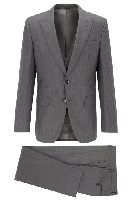 Slim-fit three-piece suit in striped Italian wool, Grey