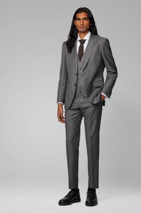 Slim-fit three-piece suit in striped Italian wool, Grey