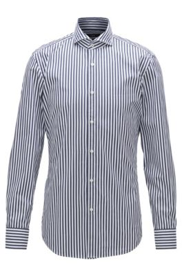 Camicia slim fit in popeline di cotone a righe, Blu scuro