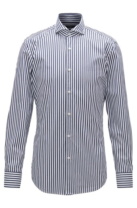 Slim-fit shirt in cotton poplin with stripe, Dark Blue