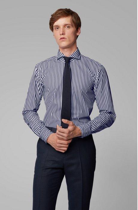 Chemise Slim Fit en popeline de coton à rayures, Bleu foncé