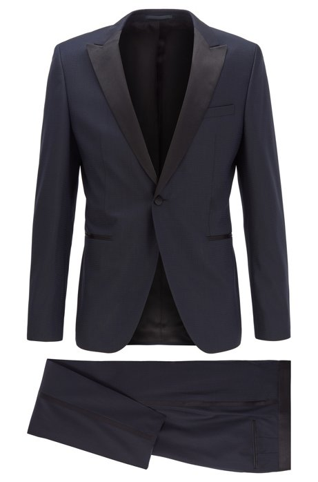 Extra-slim-fit suit in patterned virgin-wool serge, Dark Blue