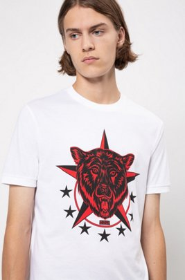 Regular-fit T-shirt with collection artwork, White