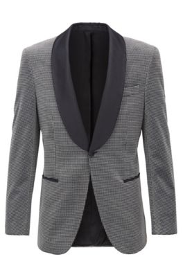 Slim-fit jacket in checked cotton with silk trims, Grey
