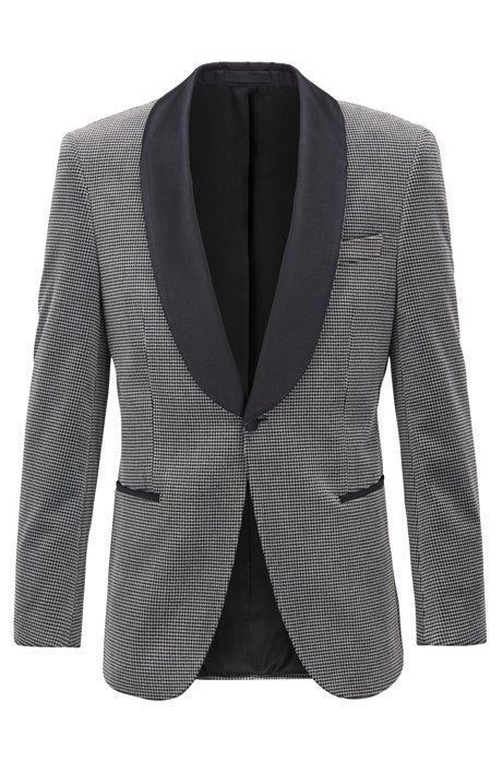 Slim-Fit Smoking-Jacke aus karierter Baumwolle mit Seiden-Besätzen, Grau