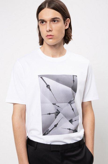 Relaxed-fit T-shirt van zuivere katoen met collectiethema , Wit